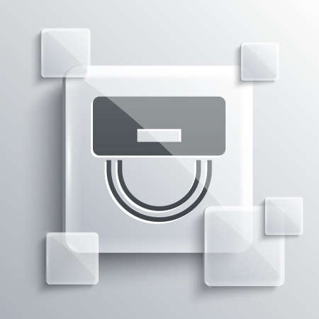 Illustration pour Grey Bellboy hat icon isolated on grey background. Hotel resort service symbol. Square glass panels. Vector - image libre de droit