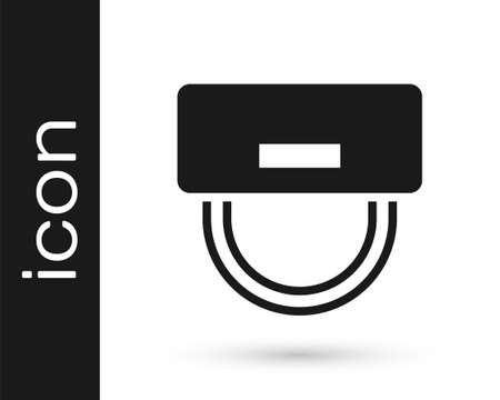 Illustration pour Black Bellboy hat icon isolated on white background. Hotel resort service symbol. Vector - image libre de droit