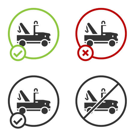 Illustration pour Black Tow truck icon isolated on white background. Circle button. Vector - image libre de droit