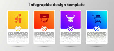 Illustration pour Set Toothbrush and toothpaste, Bellboy hat, Toilet paper roll and Covered with tray. Business infographic template. Vector - image libre de droit