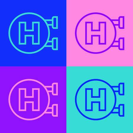 Illustration pour Pop art line Hospital signboard icon isolated on color background. Vector - image libre de droit