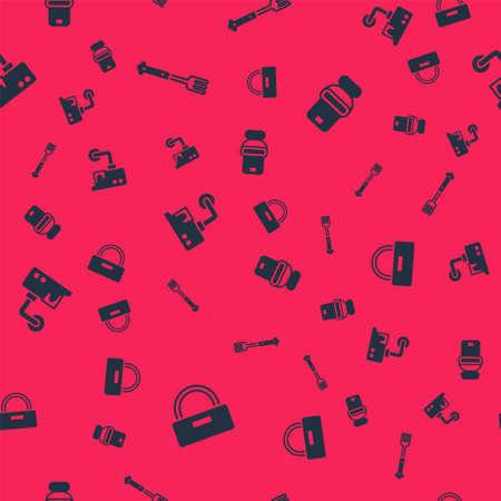 Illustration pour Set Bellboy hat, Fork, Security camera and Toilet bowl on seamless pattern. Vector - image libre de droit