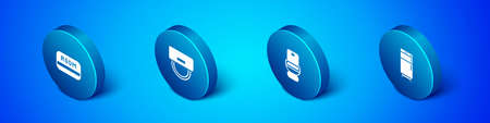 Illustration pour Set Isometric Hotel key card, Toilet bowl, Refrigerator and Bellboy hat icon. Vector - image libre de droit