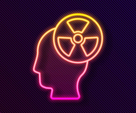 Illustration pour Glowing neon line Silhouette of a human head and a radiation symbol icon isolated on black background. Vector - image libre de droit