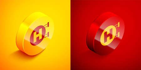 Illustration pour Isometric Hospital signboard icon isolated on orange and red background. Circle button. Vector - image libre de droit