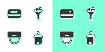 Illustration pour Set Towel on hanger, Hotel key card, Bellboy hat and Martini glass icon. Vector - image libre de droit