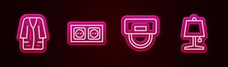 Illustration pour Set line Bathrobe, Electrical outlet, Bellboy hat and Table lamp. Glowing neon icon. Vector - image libre de droit