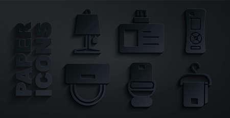 Illustration pour Set Toilet bowl, Remote control, Bellboy hat, Towel hanger, Identification badge and Table lamp icon. Vector - image libre de droit