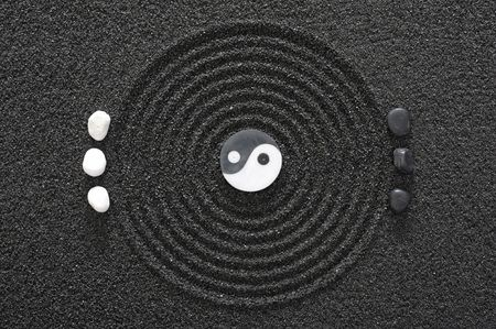 zen garden in black sand