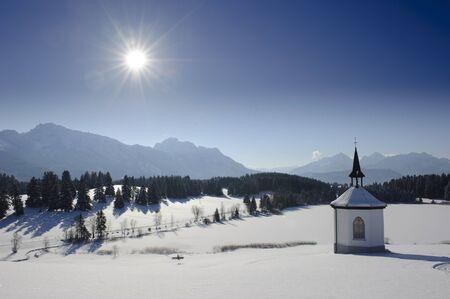 chapel in winter in upper bavaria, germany