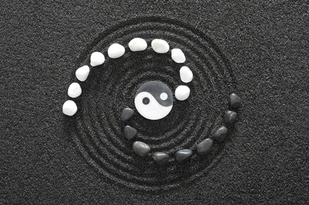 zen stones with yin and yang