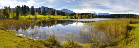 Photo for panorama view over beautiful rural landscape nearby city Fuessen in Bavaria, Germany - Royalty Free Image