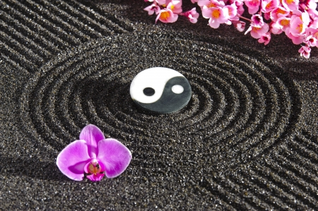 Photo pour Japanese zen garden with yin and yang stone in sand - image libre de droit