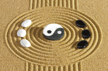 japanese zen garden with yin and yang stones