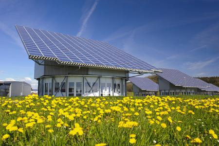 Photo pour solar system on industrial roof in Germany - image libre de droit