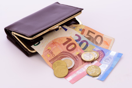 Euro cash currency in purse