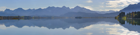 panorama mountains in Bavaria symmetric mirroring in lake