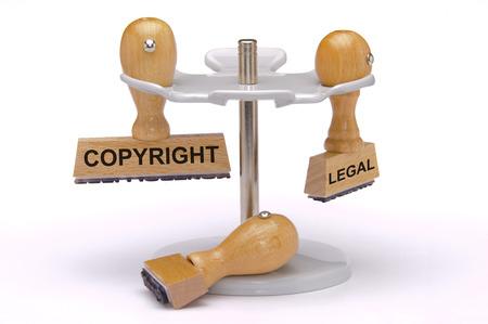 Photo pour copyright and legal printed on rubber stamp - image libre de droit