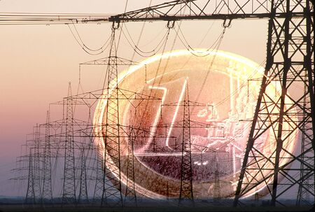 Photo for electrical pylons and Euro coin - Royalty Free Image