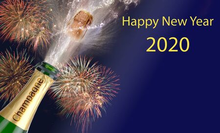 Photo pour Happy new year 2020 with firework and splashing bottle of champagne - image libre de droit