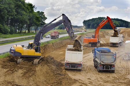 Photo pour construction site of Autobahn in Germany - image libre de droit