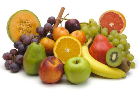 Photo for mixed fruit plate on white background - Royalty Free Image
