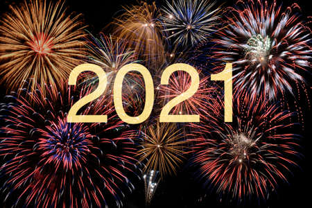 Photo pour firework on sky with year date 2021 - image libre de droit