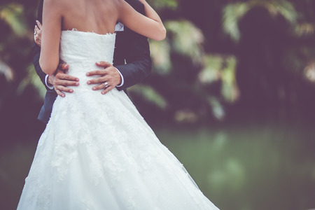 Foto de wedding dress and wedding gown - Imagen libre de derechos