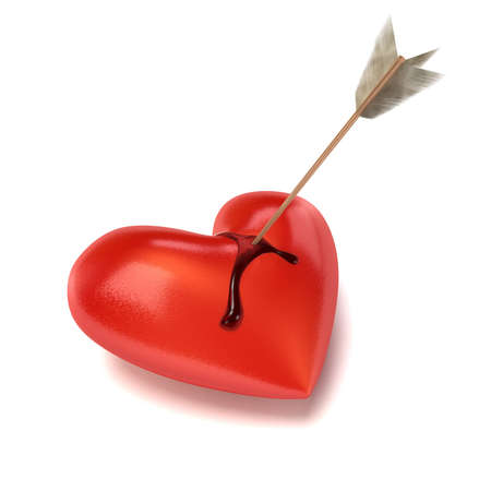 An arrow sits in a lying and bleeding Heart. Blood is running down on the sides. Cut-out with soft shadow.