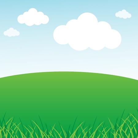 Illustration pour Grassy green field and blue sky - image libre de droit