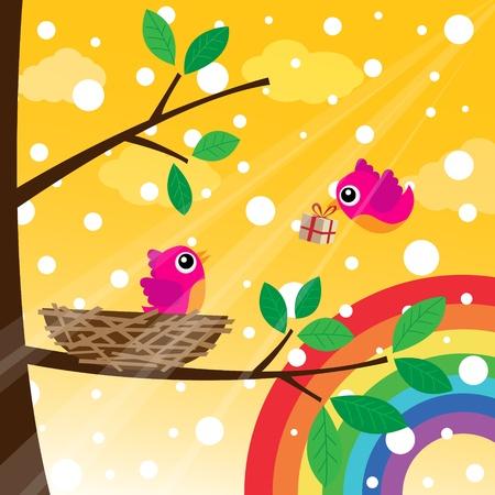 Christmas birds couple with rainbow
