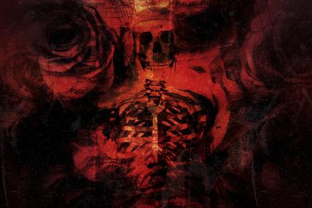 Multiple exposure, Roses, skull and  skeleton for Halloween background.