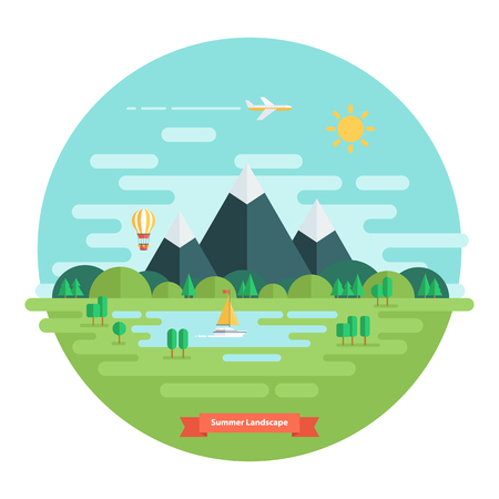 Summer landscape. Nature landscape with sun, mountains and clouds. Sunny day. Flat design vector illustration.