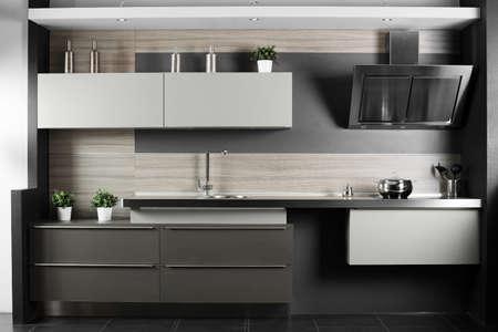 interior of brand new modern and stylish kitchen