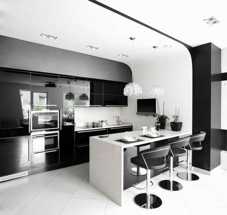 luxury and very clean empty european kitchen