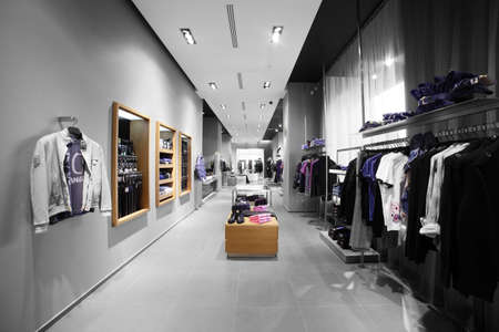 interior of brand new fashion clothes store