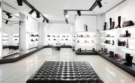 Bright large shoe store with new collectionの写真素材