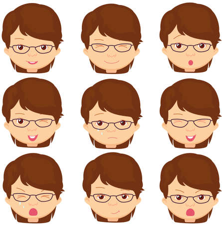 Girl with glasses emotions: joy, surprise, fear, sadness, sorrow, crying, laughing, cunning wink. Vector cartoon illustration