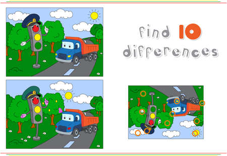 Illustration pour Traffic light and lorry on the road. Educational game for kids: find ten differences. Vector illustration - image libre de droit