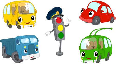 Set of cartoon bus, car, lorry, trolleybus and traffic lights. Vector illustration