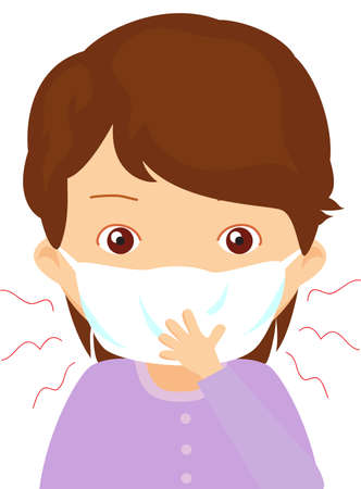 Sick girl with flu mask. Vector cartoon illustration