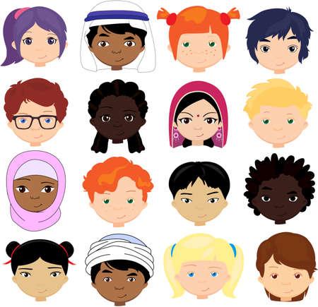 Ilustración de Boys and girls of different nationalities. Multinational children. Kids faces of different cultures. Vector cartoon illustration - Imagen libre de derechos