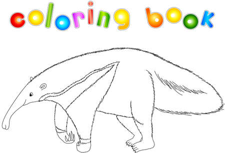 Illustration pour Funny cartoon ant-eater isolated on white. Coloring book for kids - image libre de droit