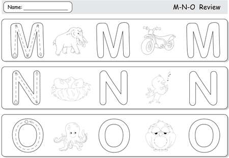 Cartoon mammoth, motorcycle, nightingale, nest, octopus and owl. Alphabet tracing worksheet. M-N-O Reviewのイラスト素材