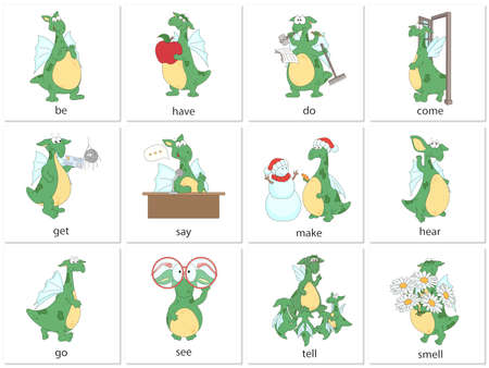 Illustration pour Irregular english verbs be, do, come, have, get, say, make, hear, go, see, tell and smell with funny dragon. Grammar cards for students - image libre de droit