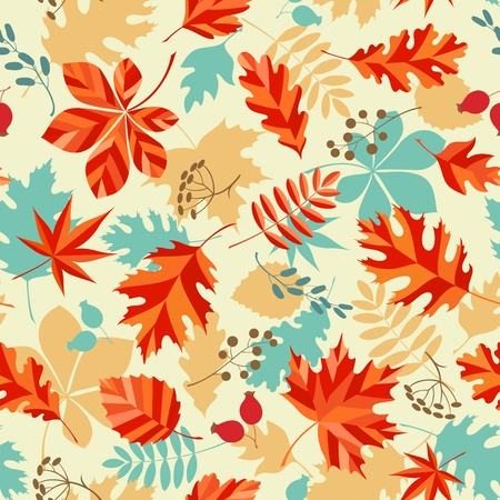Seamless pattern with autumn leaves and berries.