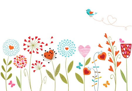 Floral background with  hand drawn flowers, butterflies, bird and space for your text. のイラスト素材