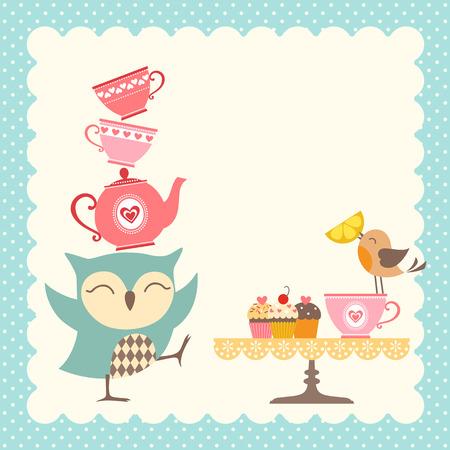 Photo pour Funny owl giving a very good tea party. - image libre de droit