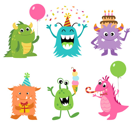 Illustration for Set of cute monsters for your Birthday design. - Royalty Free Image