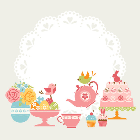 Cute Easter tea party invitation with place for your text.